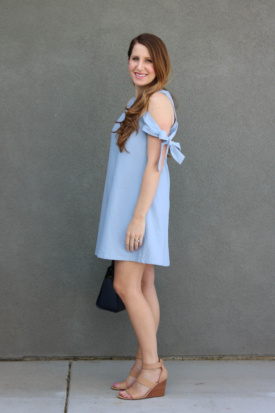 cold shoulder dress, bow sleeves