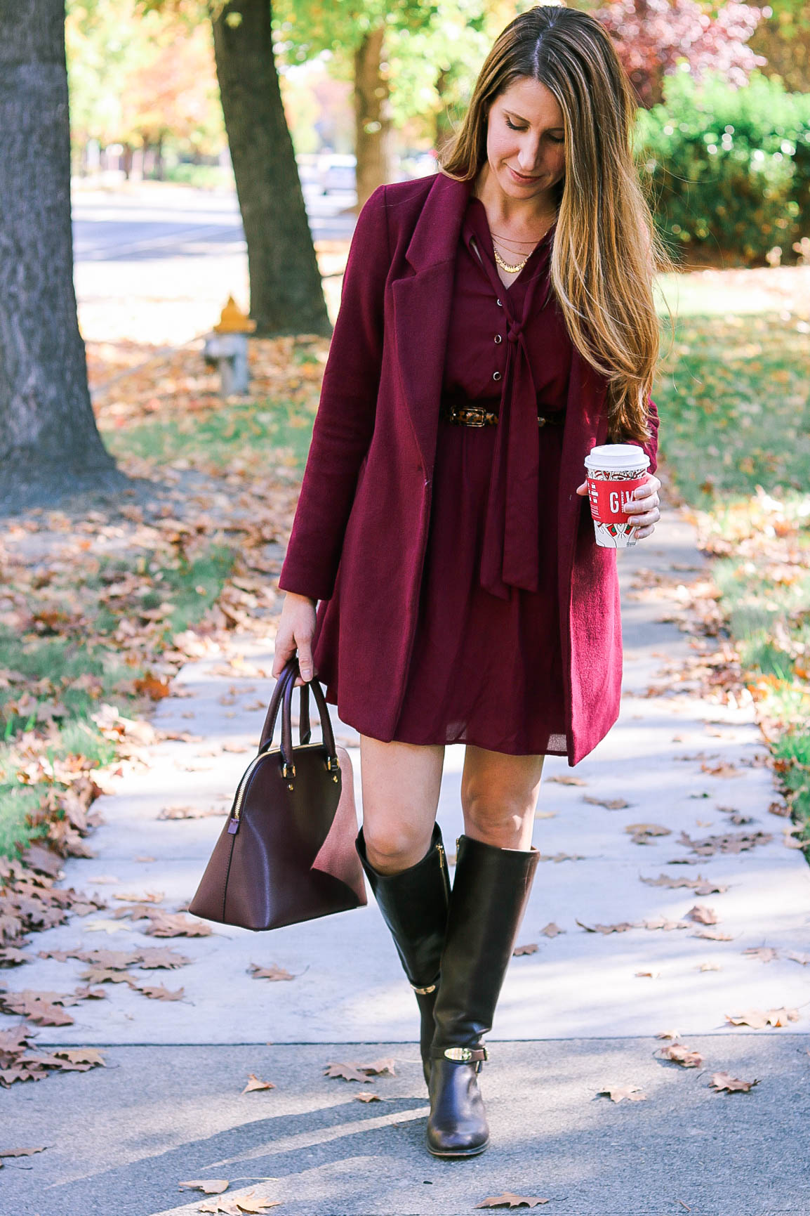 How to Wear a Burgundy Dress