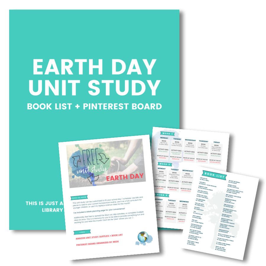 Earth Day | Free Homeschool Unit Study // This is a free unit study all about Earth day! We get to learn all about the planet we get to call home. This free five-week study, that includes exciting books, fun activities, and yummy recipes to try,  helps you and your kids grasp why we celebrate Earth!   In the unit study, you'll find five weeks worth of ideas. These ideas are all planned out for you to keep things as simple as possible! There's a suggested book, activity, and recipe for each day, as well! But you are welcome to change up any part of the unit according to what books and materials you have on hand.   Click through to read more about downloading the free homeschool unit study for Earth Day! :)