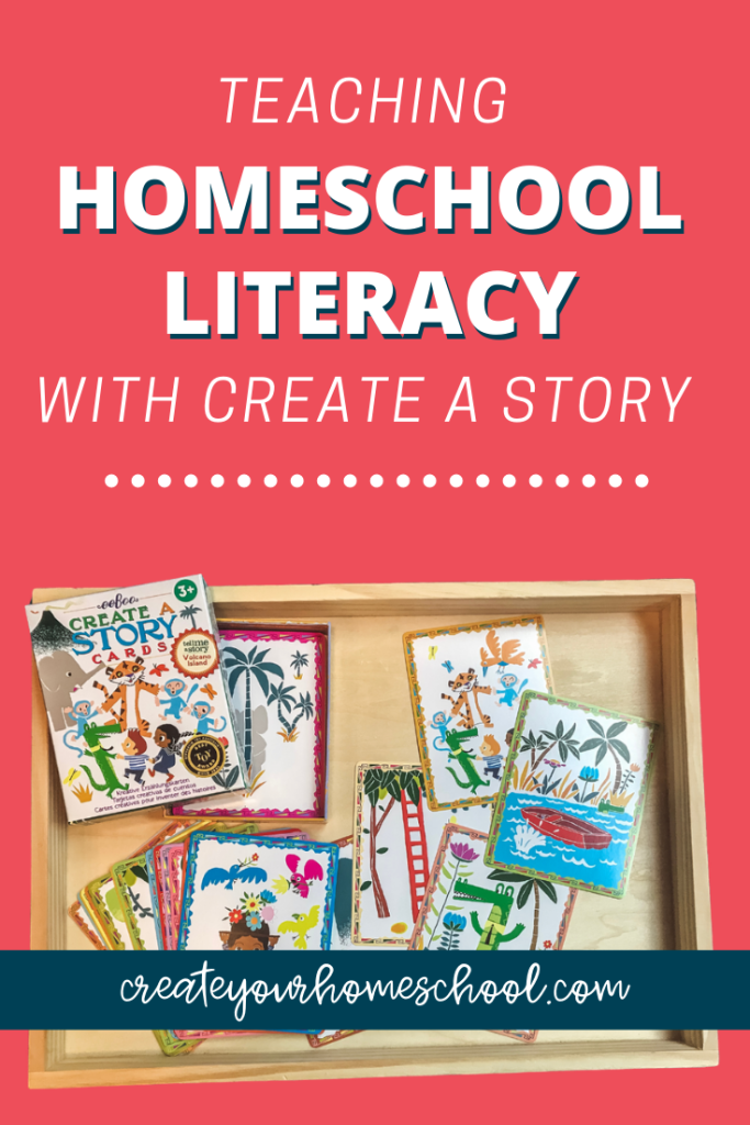Teaching homeschool literacy is so much fun with the Create a Story Cards from Timberdoodle! Click through to see how we use them in our homeschool :)