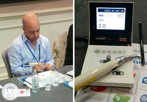 Mark getting hands-on. Hi-tech root canal motor system is familiar; we already have one!