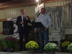 Pictured from left to right are Wade Mills who emceed the Fair's Opening ceremonies and President of the Shelburne Agricultural Society, Bruce Peterson bringing well wishes to all.