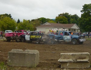 The derby this year had three pick-up trucks crashing into each other with the victor being Brad Kingsly.