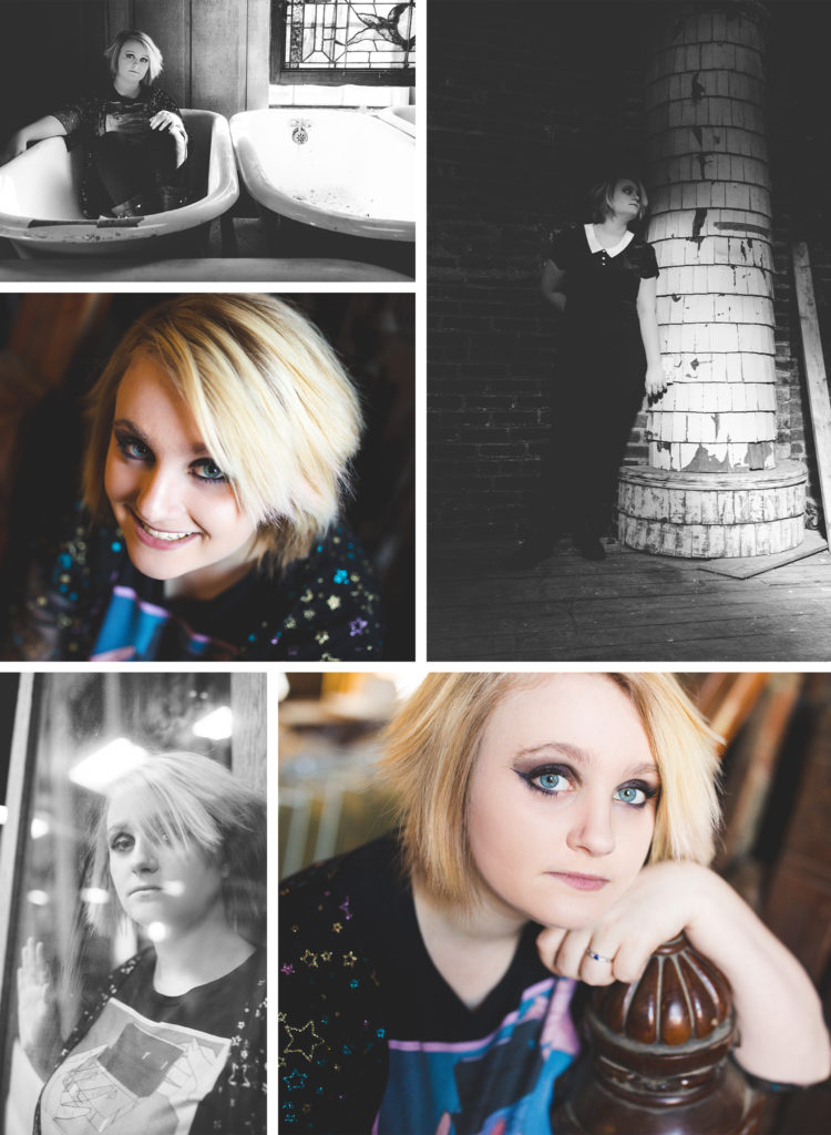 Senior portraits of girl in various locations