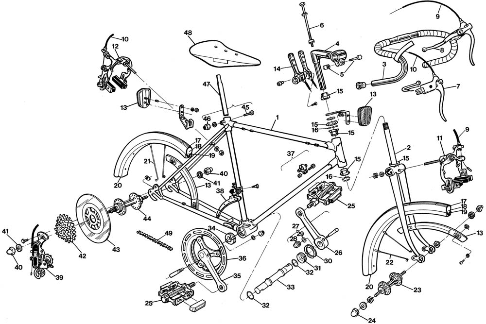 Raleigh Record 24 Bicycle Exploded Drawing from 1977