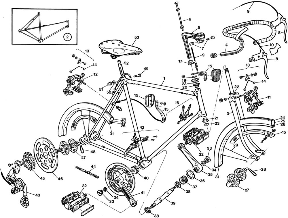 Raleigh Super Course Bicycle Exploded Drawing from 1977