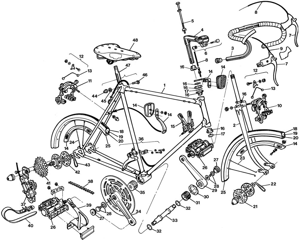 Raleigh Gran Sport Bicycle Exploded Drawing from 1977