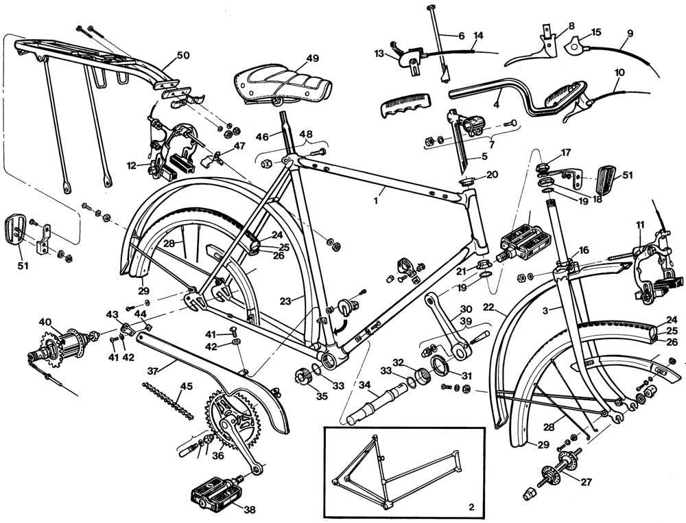 Raleigh Sprite DL85 Bicycle Exploded Drawing from 1977