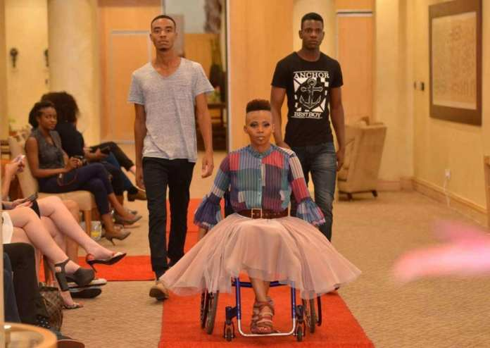 Disabled fashion model in Africa
