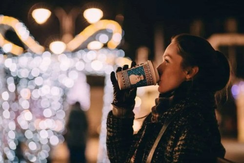 woman drinking hot chocolate Christmas self-care