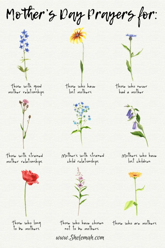 Mother's Day prayers for all kinds of mothering experiences. #mothersday #prayer