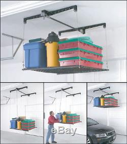 Hanging Adjustable Storage Rack Large Heavy Duty Cable Lift Garage Ceiling Shelf