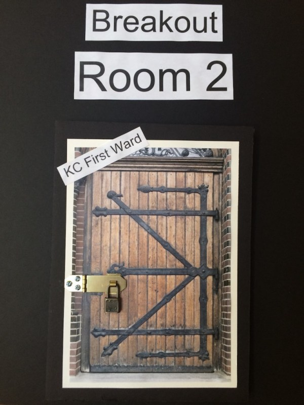 Sign on door of breakout room