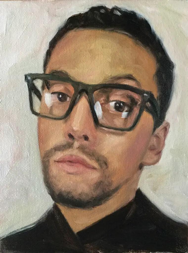 Day 6 portrait painting challenge done alla prima