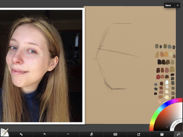 Paint on the iPad step-by-step portrait in ArtRage step 1