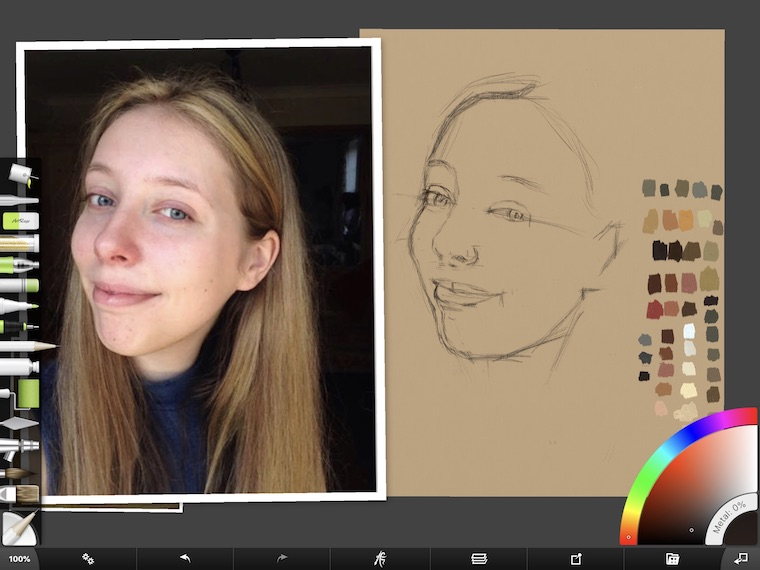 Paint on the iPad step-by-step portrait in ArtRage step 5