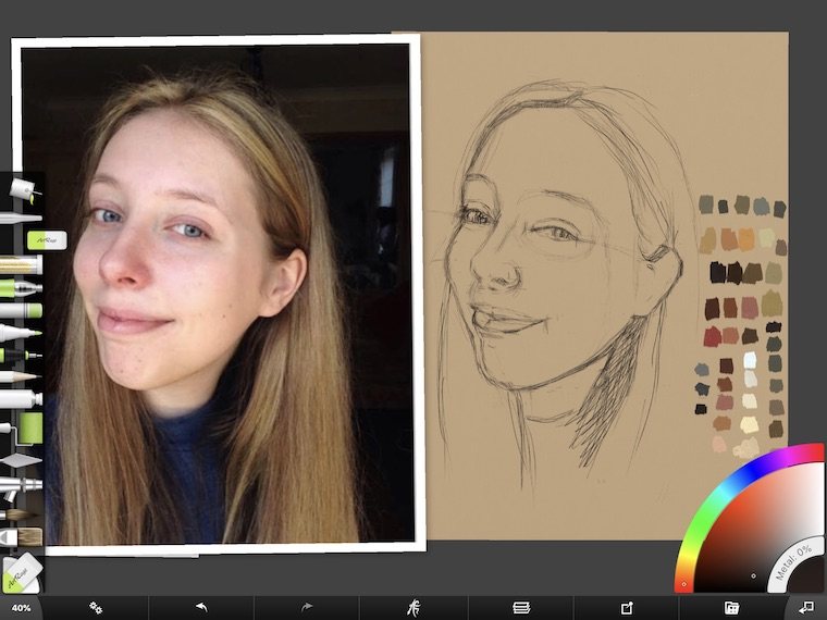 Paint on the iPad step-by-step portrait in ArtRage step 7