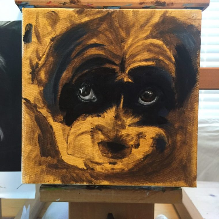 underpainting of chewy in acrylic