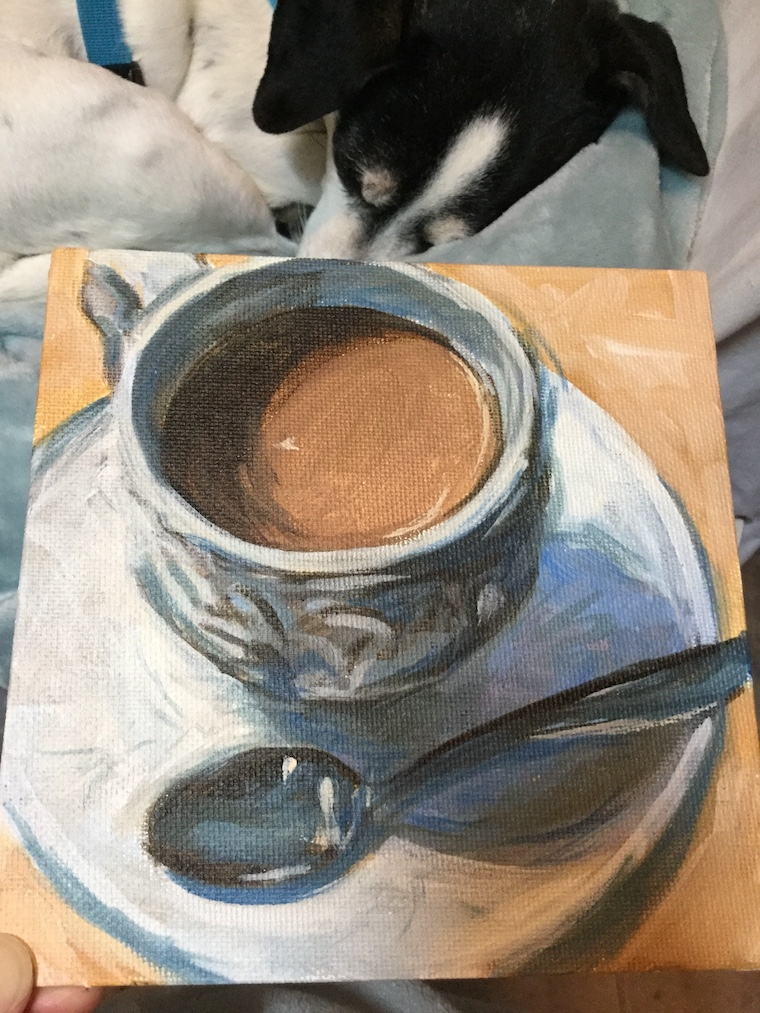 Painting silver objects - chai tea in progress with Penelope sleeping in the background
