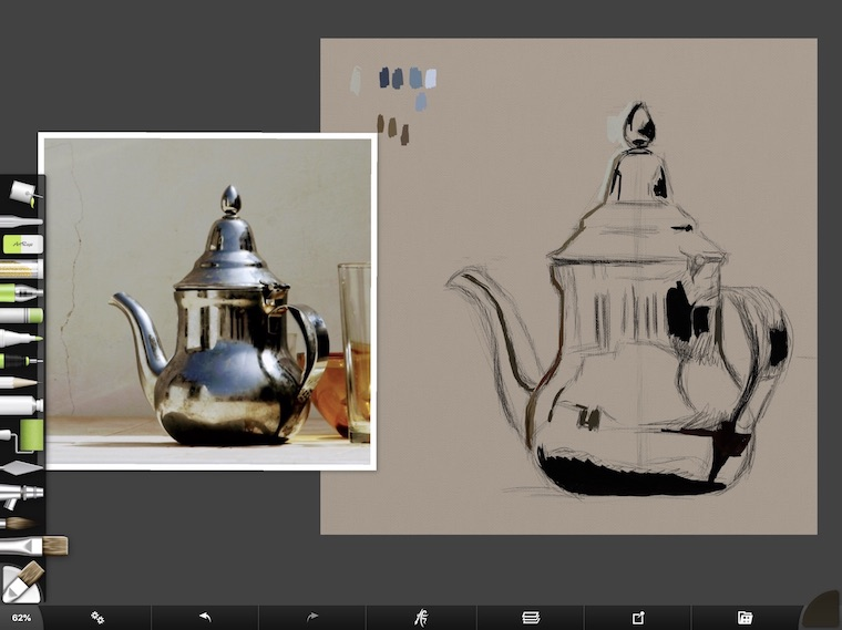 tips for painting silver digitally in ArtRage pencil drawing teapot dark paint