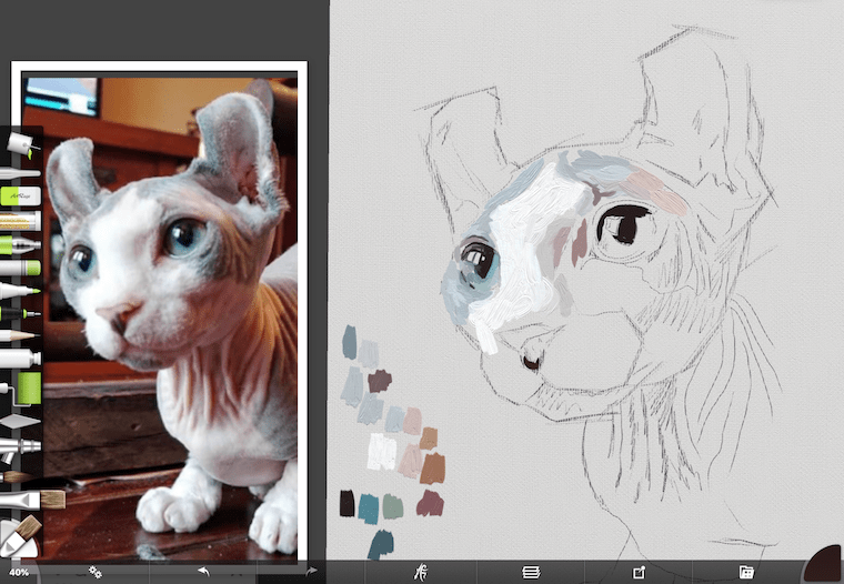 Painting a cat step by step featuring Rémy the gargoyle step 2