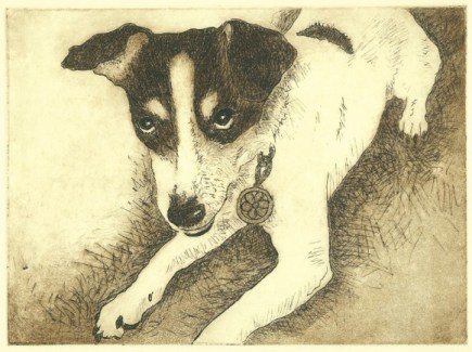 Painting black fur Penelope Intaglio print dog drawing rat terrier