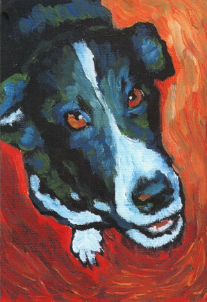 Painting black fur Raymond Acrylic Shelley Hanna dog pointer