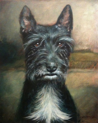 Painting black fur Rufus Acrylic on canvas Shelley Hanna acrylic painting mona lisa background cairn terrier
