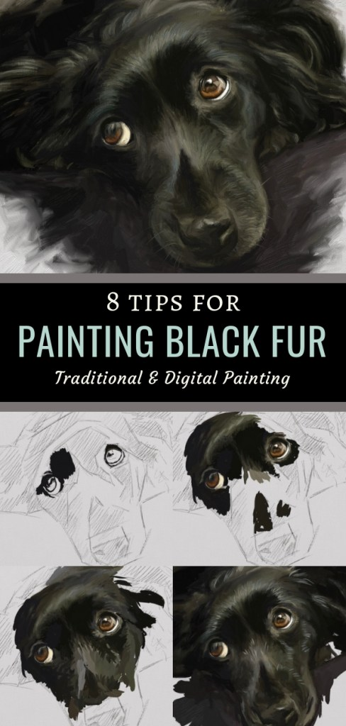 8 tips for painting black fur traditional and digital artrage step by step tutorial