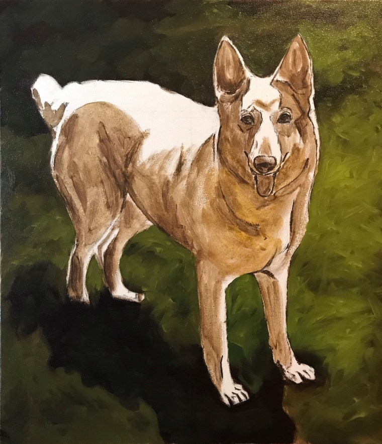 paint a white german shepherd background