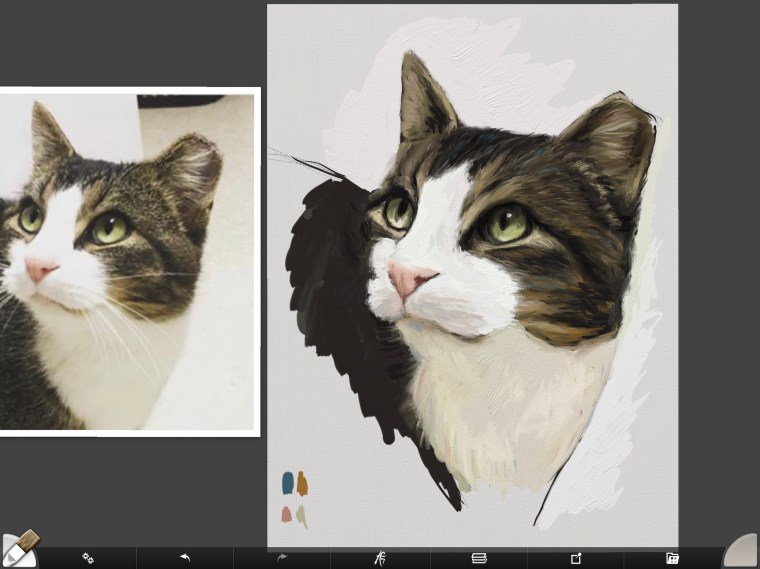 Cat digital painting tutorial step 9 adding complementary colors to fur