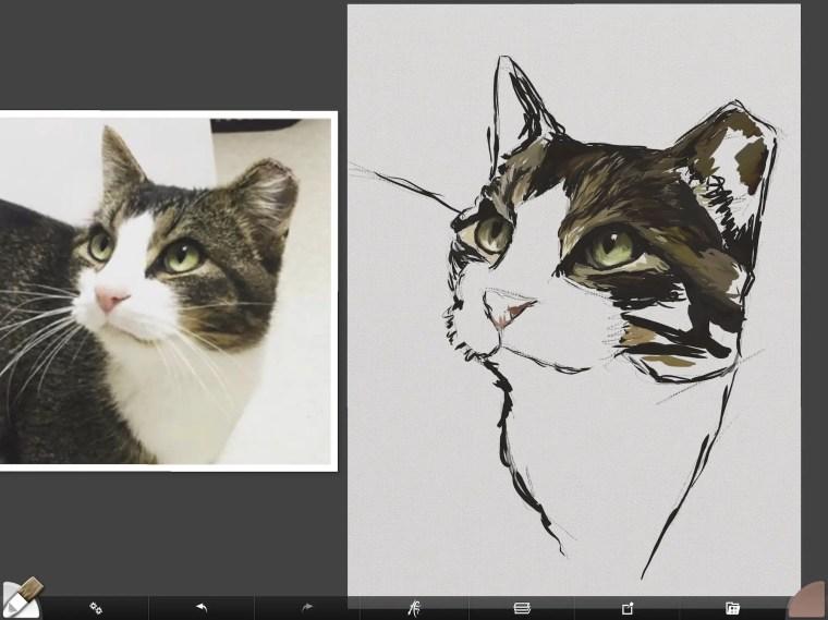 Cat digital painting tutorial step 4 dark values painting fur
