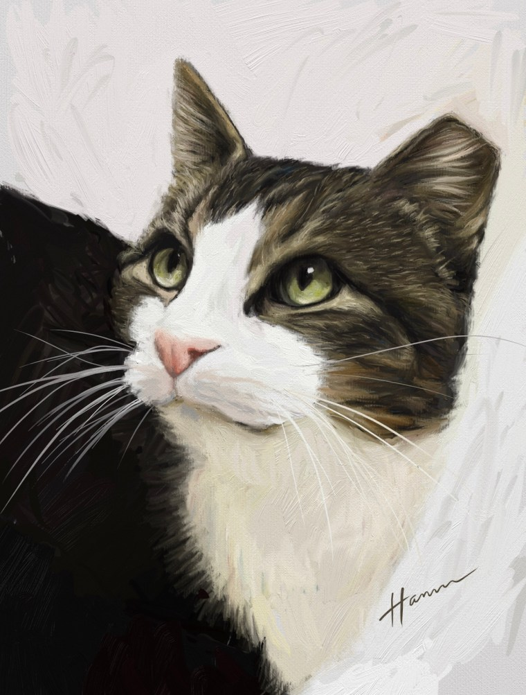 Final finished portrait digital oil painting of Tippy the cat