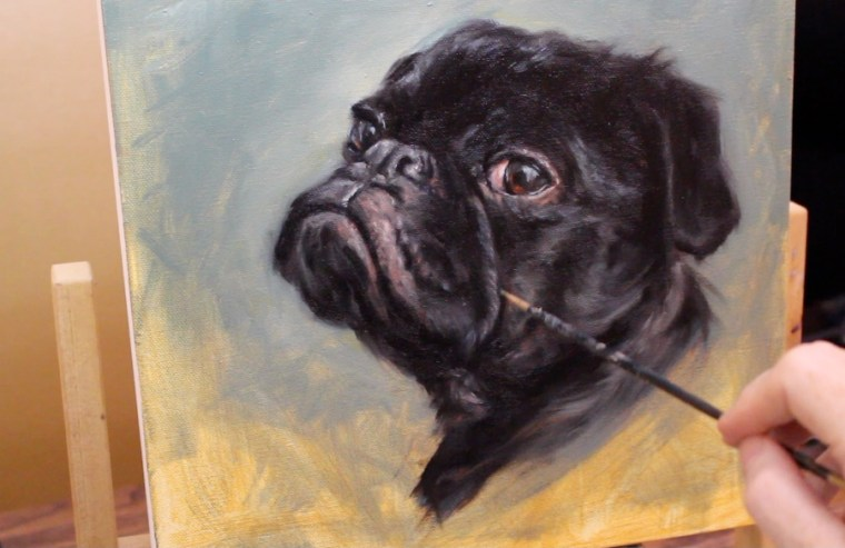 muzzle mid tones black pug dog oil painting shelley hanna tutorial how to