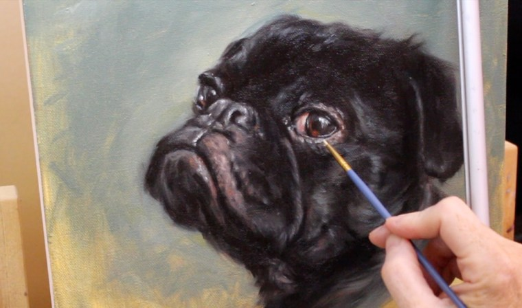 detail around eye painting dog pug