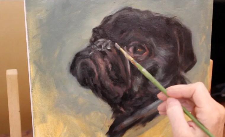 step 5 pet portrait painting a pug