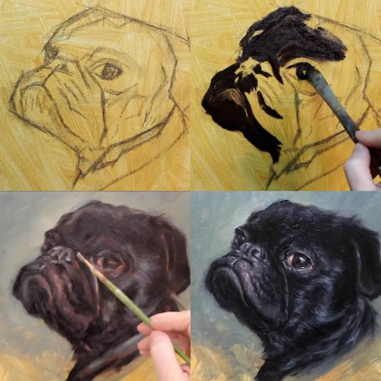 pug portrait progression shelley hanna fine art