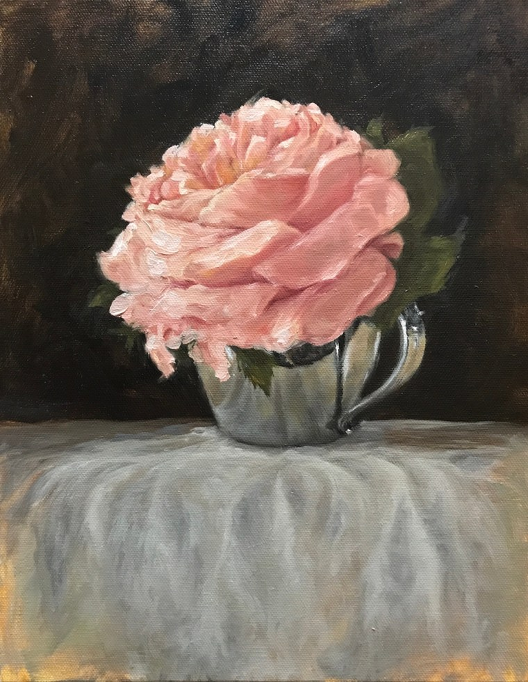 final impressionist flower painting with silver and fabric