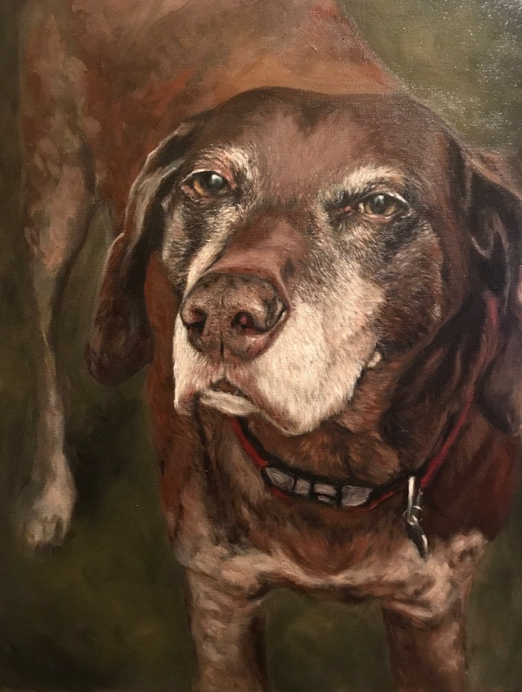 Oil painting of a senior dog, Duke