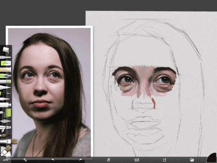 Digital portrait bridge of nose
