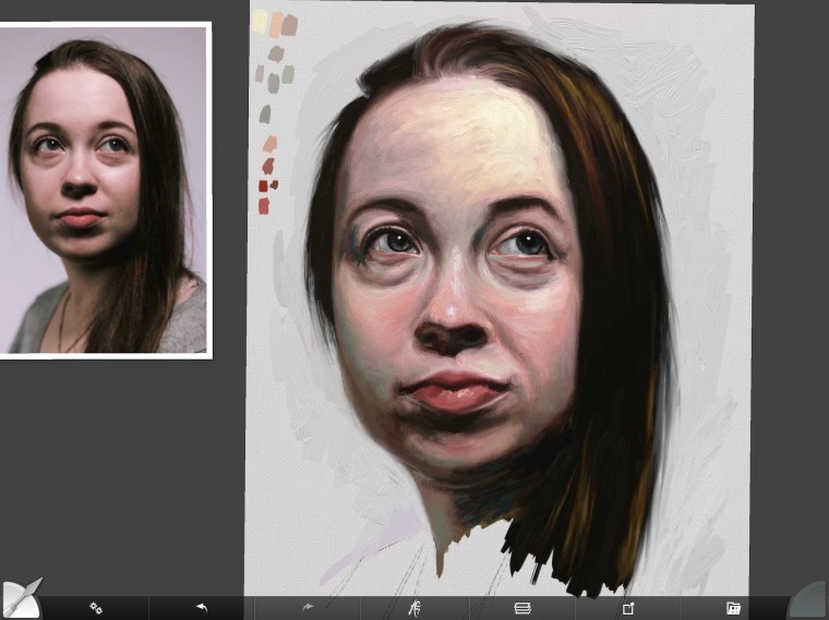 Changine up tone and color swatches on digital portrait