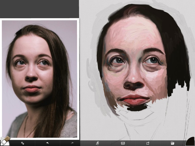 Digital portrait painting finishing form on lips and cheeks
