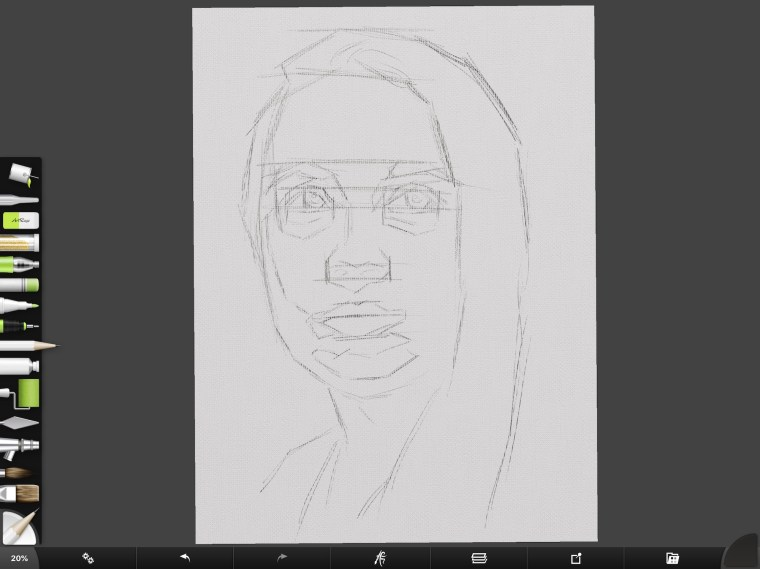 Digital portrait step 1 sketch