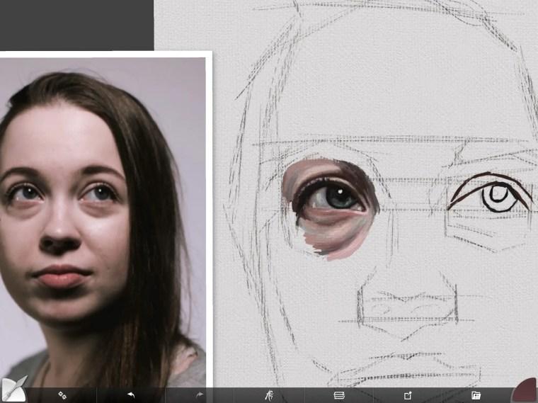 Blending out skin tone around eye