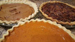 Thanksgiving pies, sweet potato, pecan and pumpkin.