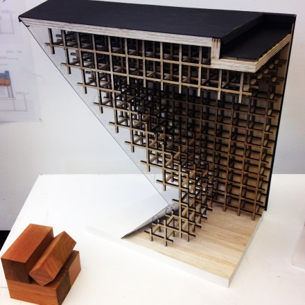 Kelsey and partner, second year M.Arch in comprehensive studio. A Ceiling/envelope/structure detail model (see: Kengo Kuma).