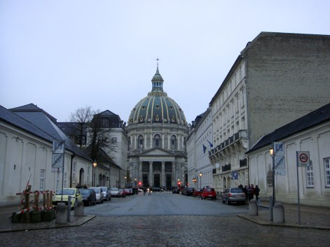 Marmorkirken, the marble church, as seen from it's waterfront vista.
