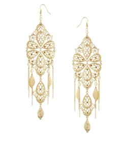 Image 1 of ASOS Filigree Faux Pearl Chandelier Earrings