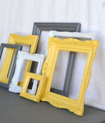 Yellow, Grey/Gray White Vintage Ornate Frames Set of 7- Upcycled Frames Modern  Bedroom Decor. $60.00, via Etsy.