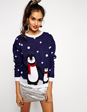 Image 1 of ASOS Christmas Jumper With Penguins